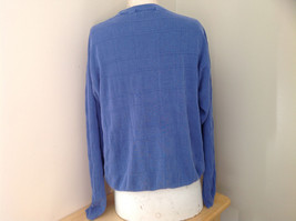 Blue Grid Patterned Silk Long Sleeve Shirt Anthology Made in China Size Large image 6
