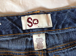Blue Jean Shorts by SO Front and Back Pockets Zipper and Button Closure Size 12 image 6