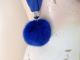 Blue Rabbit Fur pom pom Decorated Fashion Scarf 70 Inches Long 16 Inches Wide image 4
