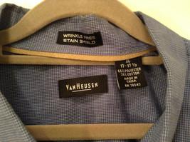 Blue Plaid Long Sleeve Van Hensen Wrinkle Free Stain Shield Shirt Size XL image 5