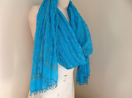 Blue Real Gold Stamped Embossed Beaded Scarf Scrunched Design Beaded Tassels image 5