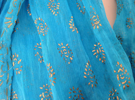 Blue Real Gold Stamped Embossed Beaded Scarf Scrunched Design Beaded Tassels image 3