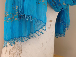 Blue Real Gold Stamped Embossed Beaded Scarf Scrunched Design Beaded Tassels image 6