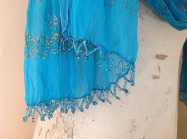 Blue Real Gold Stamped Embossed Beaded Scarf Scrunched Design Beaded Tassels image 7
