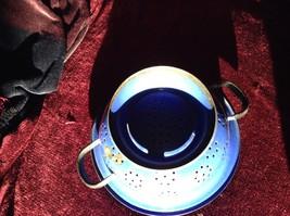 Blue Enamel Metal vintage retro Colander Strainer With Handles image 2