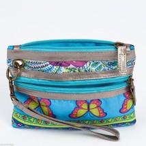 Blue Mixed Print modern Wristlet wallet clutch w butterflies image 3