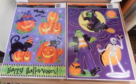 "Halloween Window Clings 12"" x 15"" 2ea Impact Innovations USA Pumpkins Ca... - $6.92"