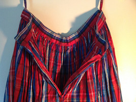 Blue Red and White Plaid Size 12 Skirt Buttton and Zipper Front Closure image 6