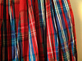 Blue Red and White Plaid Size 12 Skirt Buttton and Zipper Front Closure image 4