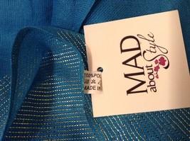 Blue Seren scarf with metallic thread accents  on half segment image 5