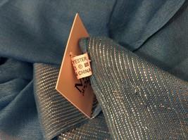 Blue Seren scarf with metallic thread accents  on half segment image 6