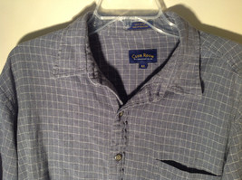 Blue Square Design White Button Long Sleeve Collared Shirt Club Room Size XL image 4
