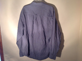 Blue Square Design White Button Long Sleeve Collared Shirt Club Room Size XL image 6
