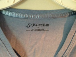 Blue St Johns Bay V Neck Three Quarter Length Sleeves Shirt Size Large image 2