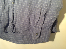 Blue Square Design White Button Long Sleeve Collared Shirt Club Room Size XL image 5