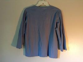 Blue St Johns Bay V Neck Three Quarter Length Sleeves Shirt Size Large image 4