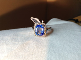 Blue Rectangular Stone White Stone Boarder Stainless Steel Ring Size 7 and 8 image 3