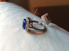 Blue Rectangular Stone White Stone Boarder Stainless Steel Ring Size 7 and 8 image 2
