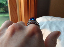 Blue Rectangular Stone White Stone Boarder Stainless Steel Ring Size 7 and 8 image 6
