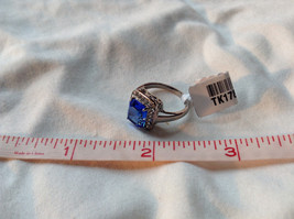 Blue Rectangular Stone White Stone Boarder Stainless Steel Ring Size 7 and 8 image 9