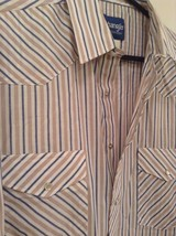 Blue Tan Stripes Wrangler Long Sleeve Button Up Shirt 2 Chest Pockets Size Large image 2