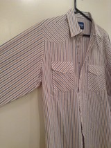 Blue Tan Stripes Wrangler Long Sleeve Button Up Shirt 2 Chest Pockets Size Large image 4