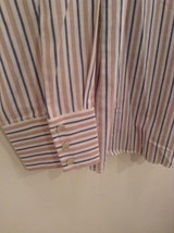 Blue Tan Stripes Wrangler Long Sleeve Button Up Shirt 2 Chest Pockets Size Large image 3