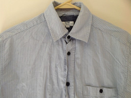 Blue Striped Front Pocket Button Up Dress Shirt Buttons at Cuffs Old Navy Size S image 2