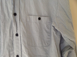 Blue Striped Front Pocket Button Up Dress Shirt Buttons at Cuffs Old Navy Size S image 3
