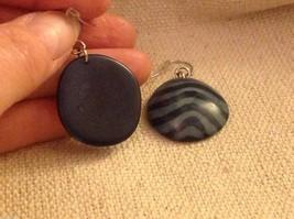 Blue batik pattern sustainable renewable Tagua earrings women's work Columbia image 3
