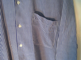 Blue and White Striped Button Down Collared Shirt SKYR 1 Front Pocket Size M image 2
