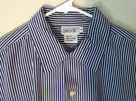 Blue and White Striped Button Down Collared Shirt SKYR 1 Front Pocket Size M image 3