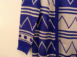 Blue and White Anorak Long Sleeve Cardigan Sweater Wrap New in Package image 4