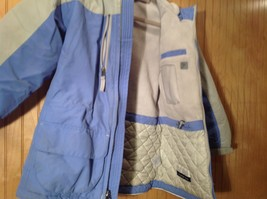 Blue and White Lands End Winter Lined Coat with Hood Size Small 7 to 8 image 6