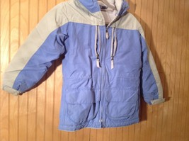 Blue and White Lands End Winter Lined Coat with Hood Size Small 7 to 8 image 2
