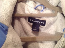 Blue and White Lands End Winter Lined Coat with Hood Size Small 7 to 8 image 3
