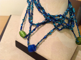 Blue shades Knit Fabric Layered look Necklace with blue, green, gold glass beads image 2