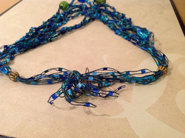 Blue shades Knit Fabric Layered look Necklace with blue, green, gold glass beads image 4