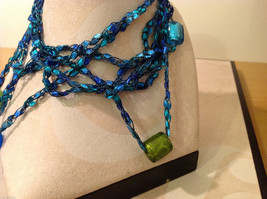 Blue shades Knit Fabric Layered look Necklace with blue, green, gold glass beads image 3