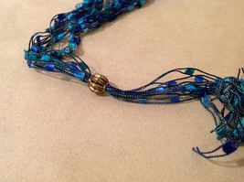 Blue shades Knit Fabric Layered look Necklace with blue, green, gold glass beads image 5