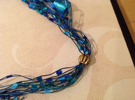 Blue shades Knit Fabric Layered look Necklace with blue, green, gold glass beads image 7