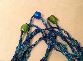 Blue shades Knit Fabric Layered look Necklace with blue, green, gold glass beads image 6