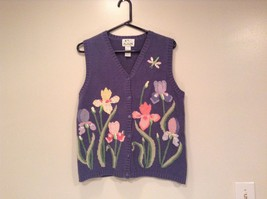 Blue with Pink Yellow Violet Flowers Embroidery Knitted Vest The Quacker Factory image 2