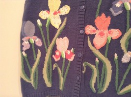 Blue with Pink Yellow Violet Flowers Embroidery Knitted Vest The Quacker Factory image 4