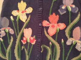 Blue with Pink Yellow Violet Flowers Embroidery Knitted Vest The Quacker Factory image 5