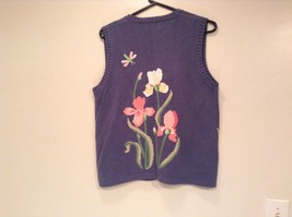 Blue with Pink Yellow Violet Flowers Embroidery Knitted Vest The Quacker Factory image 8