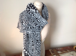 Boho Style Black and White Scarf with Dots image 3