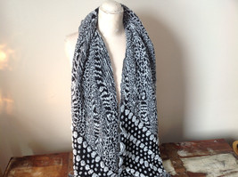 Boho Style Black and White Scarf with Dots image 2