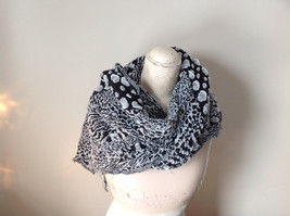 Boho Style Black and White Scarf with Dots image 4
