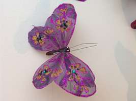 Blues Purples browns Glitter Feather Butterfly Garland Plastic Line image 6